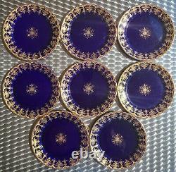 Ensemble De 8 Antiques Sarreguemines Bleu Cobalt 8 Plaques Or Gilt Livraison Gratuite