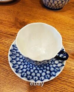 Ensemble De Café Cobalt Net Sans Or Lomonosov Porcelaine Usine Lfz