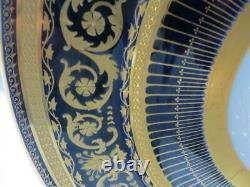 Ensemble De Douze William Guerin & Co. Limoges Porcelaine Cobalt Doré Assiettes