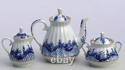 Ensemble De Thé 6/21 Pcs Blue Rhapsody Cobalt - 22k-gold, Lomonosov Porcelain, Russie
