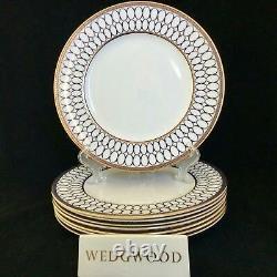 Ensemble Parfait De 8 Assiettes De Souper Wedgwood Renaissance Gold 10 3/4 Bleu Cobalt
