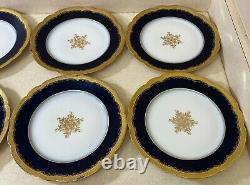 Ensemble Vintage De 8 Limoges France Cobalt Blue & Gold Dinner Plate M. Redon