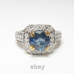 Estate 14k Blanc, Or Jaune 2,30 Ct Natural Cobalt Blue Saphir Bague En Diamant