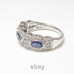 Estate 14k White Gold Natural Cobalt Blue Sapphire And Diamond Ring 0.90 Cts