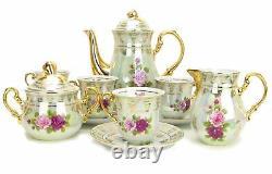 Euro Porcelain 17-pc Coffee/tea Set Pour 6 Service De Vaisselle De Luxe Avec 24k Gold