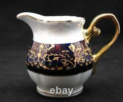 Euro Porcelaine 17-pc Ensemble De Thé Pour 6 Flower Pattern Dark Cobalt Blue 24k Gold