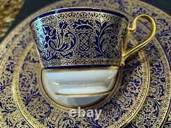 Exquis Franciscan Royal Renaissance Fine China Gold Filigree/cobalt Blue 5 Pc
