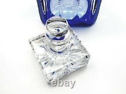 Faberge Egg Russe Cobalt Bleu Cristal Operetta 24k Gold Whiskey Glass Decanter