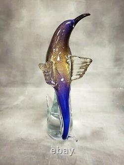 Formia Vetri DI Murano Oiseau De Paradis Open Wing 12 Cobalt Gold Glass Figurine