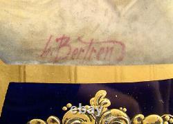 Français Porcelaine De Sèvres Boîte À Bijoux Octogonal Gold & Cobalt Blue Par L. Bertren
