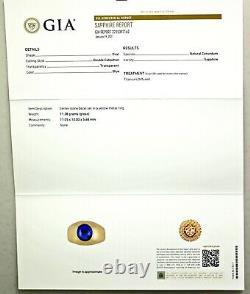 Gia Certifié 8.07 Ct Cobalt Blue Sapphire 18k Rose Gold Homme Anneau