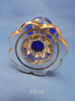 Gobelet De Vin En Verre De Moser-style De Bohême Lourd, Clair, Bleu Cobalt Cabochon & Or