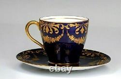 Gorgeous Antique Royal Doulton Cobalt Blue And Gold Porcelain Cup & Soucoupe A