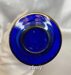 Grand Antq Czech Bohemia Moser Cobalt Blue 22k Gold Ottoman Spire Decanter