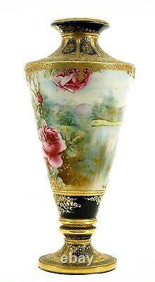 Grand Nippon Japonais Cobalt Blue Gold Moriage Perle Rose Pedestal Vase 18 47cm