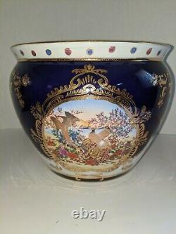 Grand Porcelaine Limoges Style Cobalt Blue & Gold Gilding Fish Bowl Planter