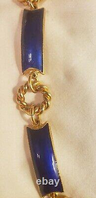 Gucci Chaîne D'or Cobalt Liens Émail Royal Bleu Ceinture Collier Millésime 1970s