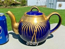 Hall China Cobalt/gold Théière Française Avec Gold Palm Leaf Design. Réduction