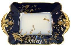 Haviland Limoges Chf1211 Porcelaine Cobalt Blue Gold 12.5 Bol À Plat De Plateau De Service