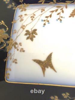 Haviland Limoges Chf1211 Porcelaine Cobalt Blue Gold Grand Plat De Plateau De 20 Portions