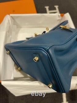 Hermes Birkin 25 Bleu Cobalt Swift Gold Hardware X Stamp 2016 Pré-détenue