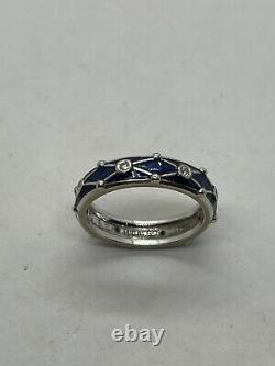 Hidalgo 18k Or Blanc Diamant Cobalt Bleu Foncé Bande Anneau Perle 6.5g Net