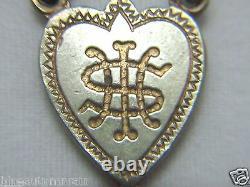 Htf Antique Marqué 14k Or Jaune Médaille Charme Bleu Cobalt Rosaire Collier