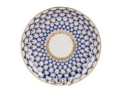 Imperial Porcelain'cobalt Net Tulip' Tea Set 20 Pc. Pour 6 Personnes, Or, Russie