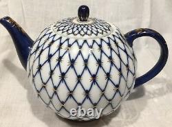 Imperial Russia Cobalt Blue Gold Net Lomonosov Café / Théière Et Sugar Bowl