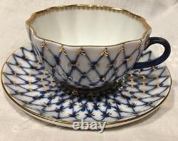 Imperial Russia Cobalt Blue Gold Net Lomonosov Théière Et Sugar Bowl +10 Tasses
