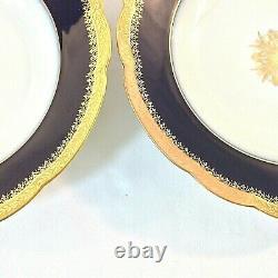 Jean Pouyat Limoges Antique Set 2 Soupes Salades Cobalt Bleu Or 9 1/8 France