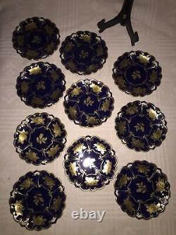 Jlmenau Echt Kobalt Cobalt Gold Graf Henneberg 10 Pièces Dessert Plates, Allemagne