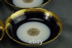 Jpl J Pouyat France Blue Cobalt Gold Leaf Trim Desert Plates Ensemble De 6 Antiques