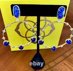 Kendra Scott Bleu Facetté Kyocera Boucles D'oreilles Opal/cobalt /cz 14k Plaque D'or Boucles D'oreilles