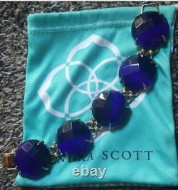 Kendra Scott Cassie Cobalt Bleu Chats Eye Gold Chunky Bracelet Mode Bijouterie Ks