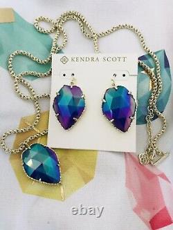 Kendra Scott Gold Corley / Corla Ensemble Collier / Boucles D'oreilles Cobalt Iridescent