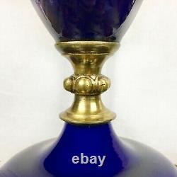 Lampe En Verre Antique Cobalt Avec Golden Leaf