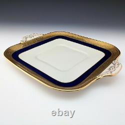 Lenox Chine Westchester Cobalt Bleu Cake Plate Square M139k Or Incrusté C1915