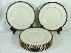 Lenox L325b Pour J. E. Caldwell & Co 10 Plaques De Diner Cobalt Blue Gold Encruste