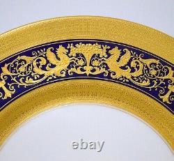 Lenox U.s. A. Assiette De Dîner Décorée De Bleu De Cobalt Incrusté D'or