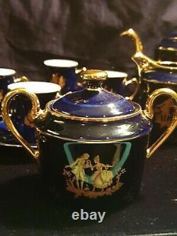 Limoges France Cobalt Bleu Or Véritable Ensemble De Thé Porcelaine D'art