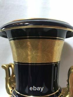 Lindner Kueps Echt Cobalt Bleu Allemand Bavière Porcelaine Vase-urnes Or Trim-paire