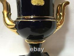 Lindner Kueps Echt Cobalt Blue German Bavaria Porcelaine Vase-urn-gold Trim-pair