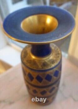 Mary Rich Studio Pottery Vase Cobalt Bleu Or Lustre ±23cm 9 Pouces De Haut Signé
