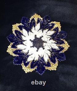 Meissen Antique 19 Siècle Feuille D'érable Or Et Bleu Cobalt Plaque