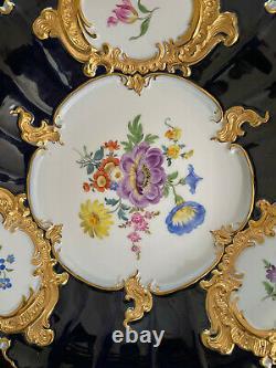 Meissen Cobalt Bleu & Or Floral Grandes Plaques D'armoire Chargeur