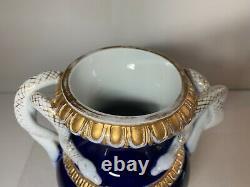 Meissen Grand Vase D'urne De Cobalt Et D'or Avec Poignées Blanches Jumelles De Serpent