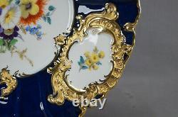 Meissen Hand Painted Floral Cobalt & Gold Rococo Style Charger / Plaque De Service