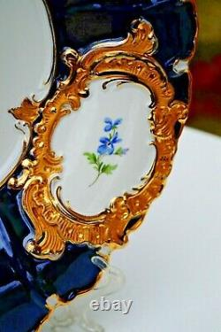 Meissen Peint À La Main Doré Grand Bol Bleu Cobalt