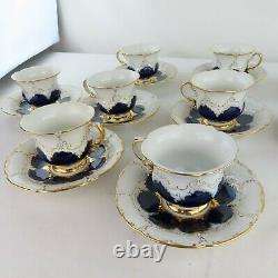 Meissen Porcelaine Cobalt Bleu & Or 12 Tasses À Thé + 11 Soucoupes Antique Rare